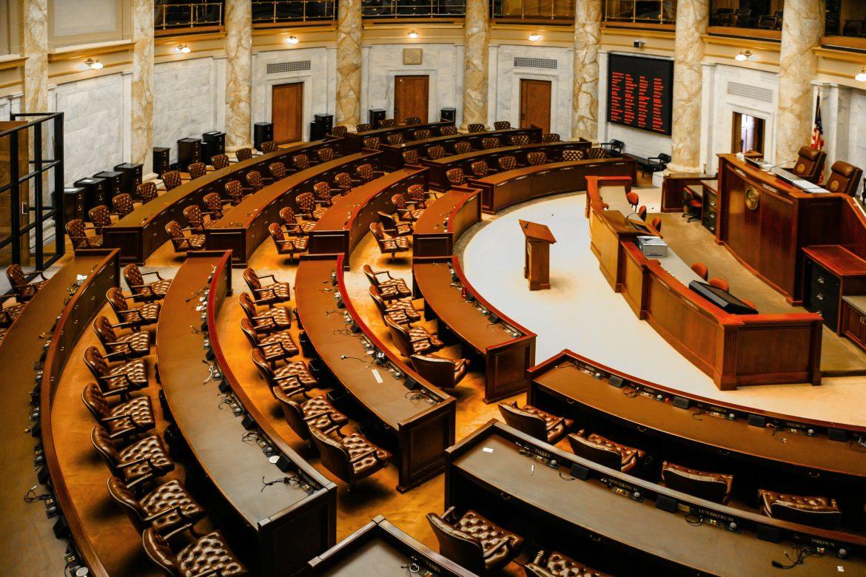 Little Rock, AR, USA - June 12, 2015: House of Representatives chamber inside the Arkansas State Capitol building in Little Rock