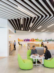 Aluminum Tavola Beams & Baffles at Adobe's Employee Town Center in San Jose