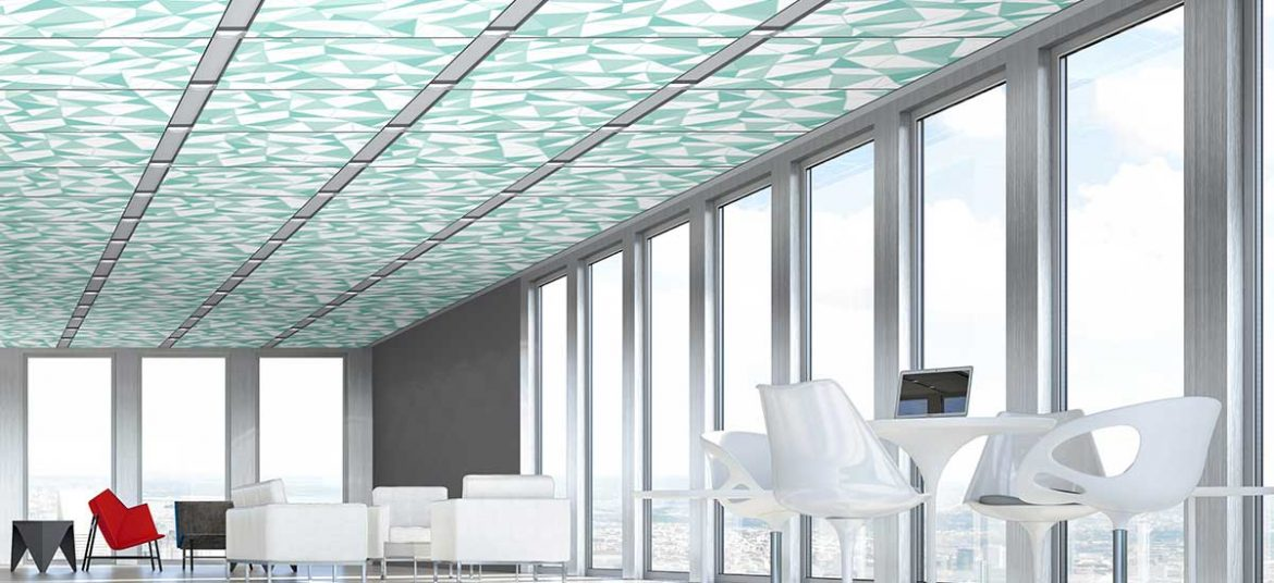 Techstyle® Graphic ceiling panels: Large Origami in Seaglass