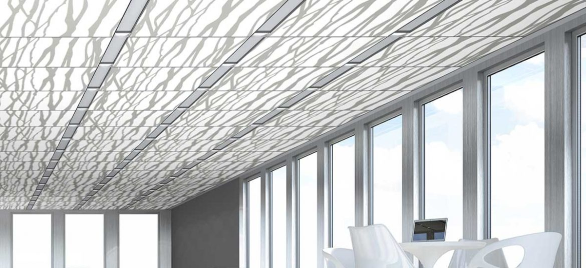 Techstyle® Graphic ceiling panels: Large Branches Print in Concrete