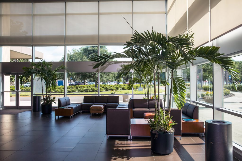 RB500 Automated Roller Shades add clean lines to Santa Fe College's Fine Arts Hall