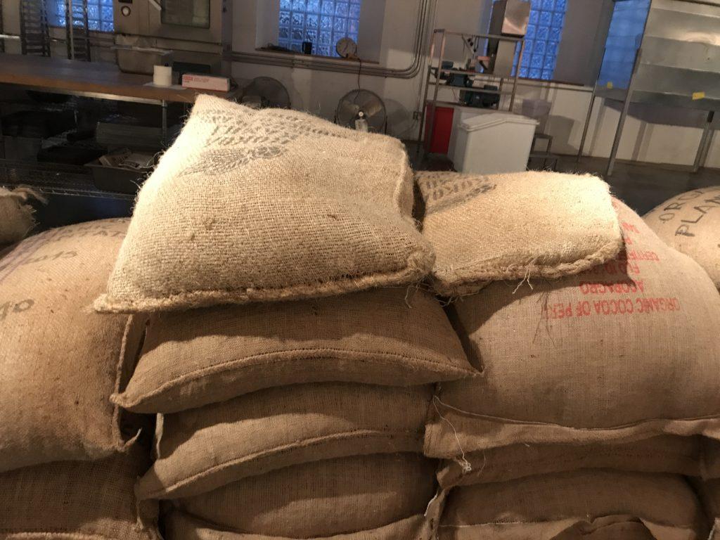 From cocoa bean sacks to art installation