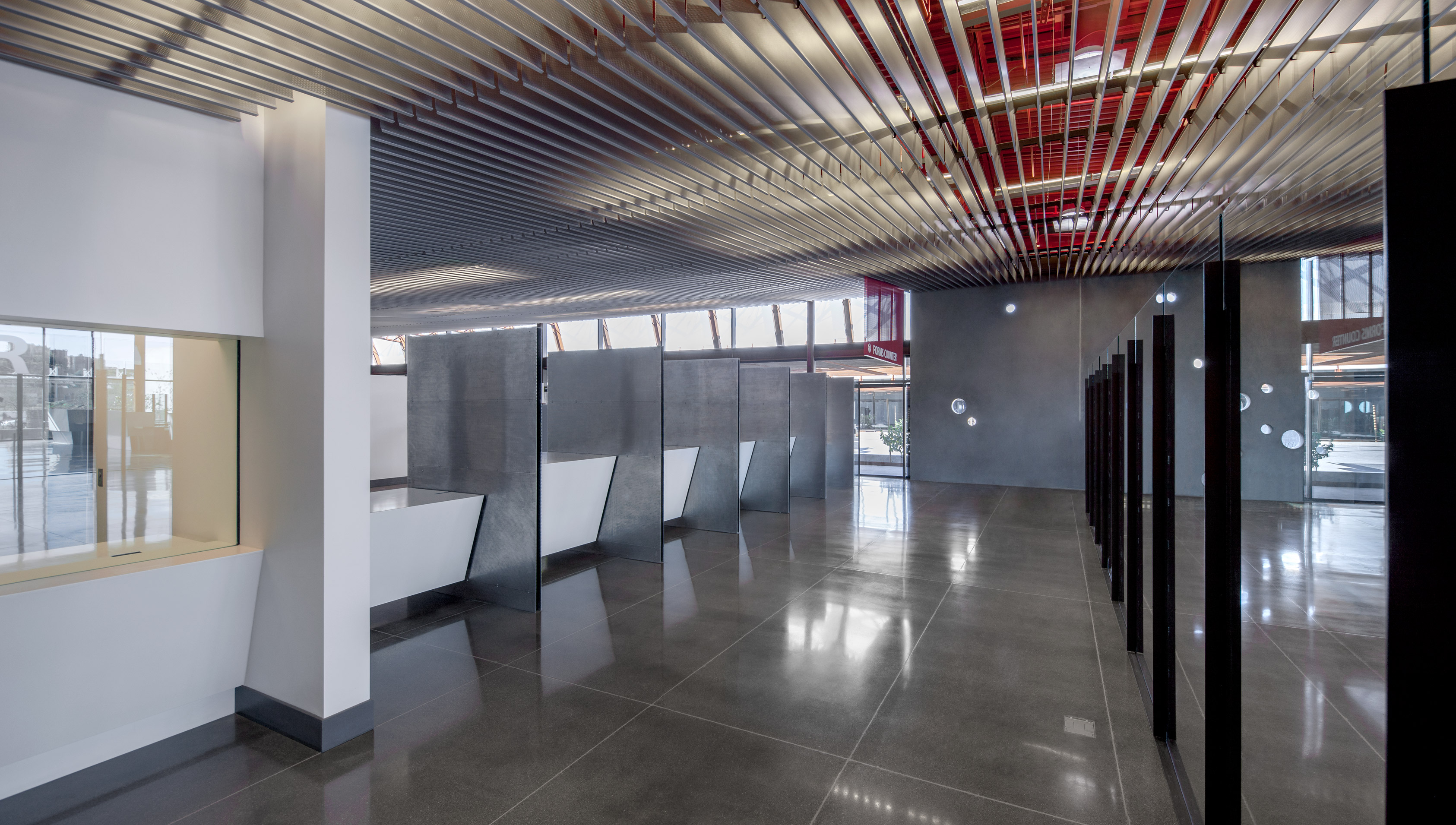 Mariposa features Hunter Douglas Architectural's V-200 Baffles Series ceilings