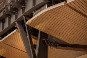 Hunter Douglas fabricated 3,150 back-cut v-notches at the panel intersections, and engineered a splice plate that fit the architect's design.