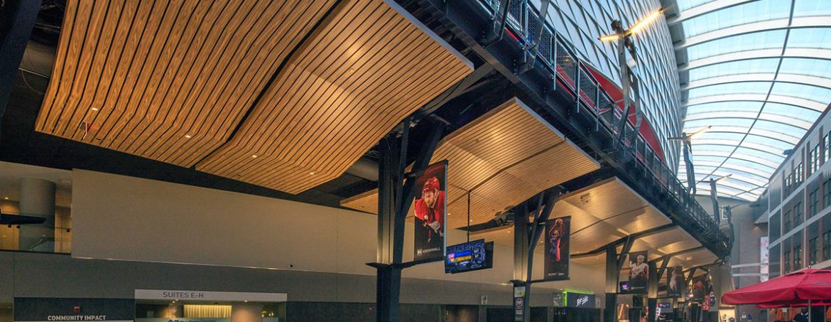For the concourse, Hunter Douglas custom engineered a metal ceiling panel system.