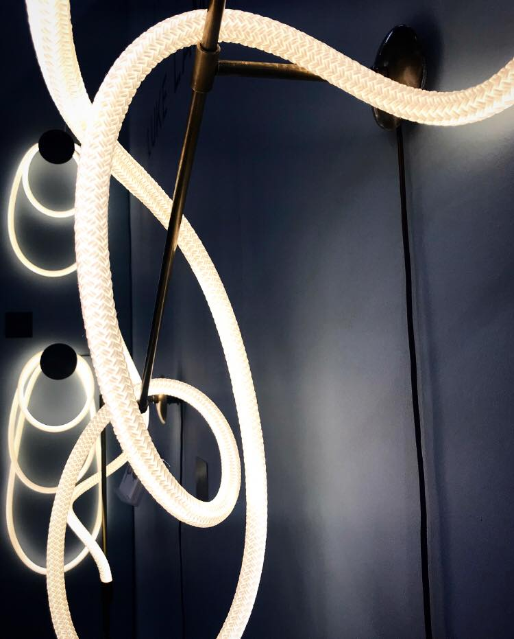 Luke Lamp Company creates LED rope lighting and chandeliers that are bent to form elegant sculptures that appear to float.