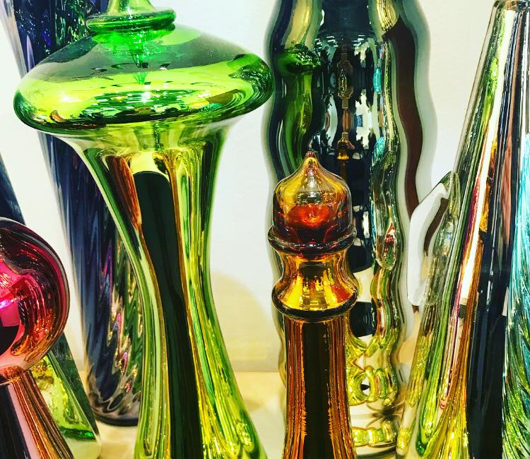 Glass is transformed by Furthur Design into fabulous, shiny metallic-coated vessels.