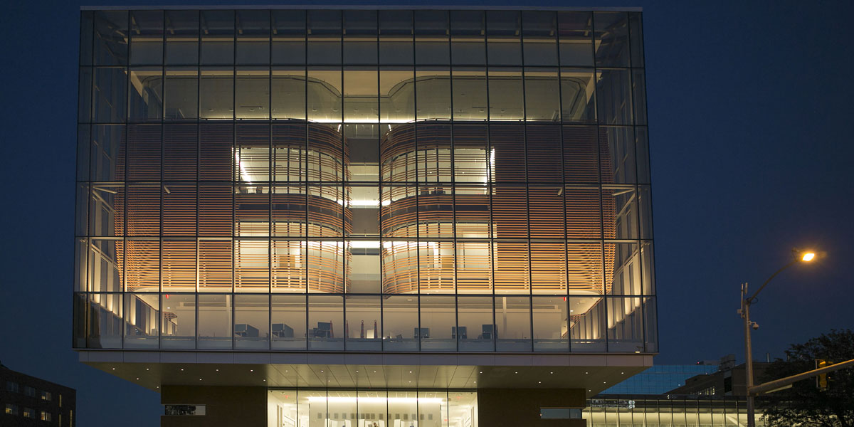 At the University of Kansas Medical Center – Health Education Building, two capsule-like rounded structures inside are surrounded by a large glass cube that looks like a lantern box. They're embedded in cages made of terracotta baguettes with a round cross-section, offering a neat view.