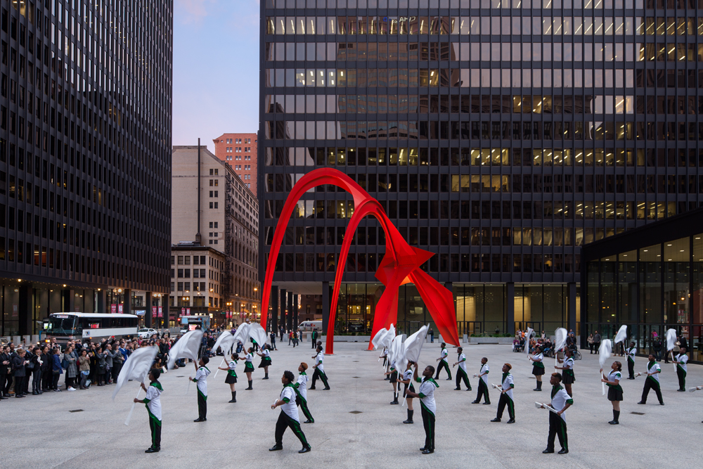 Bryony Roberts Studio in collaboration with the South Shore Drill Team | We Know How to Order, Federal Plaza, Chicago, 2015. By Andrew Bruah