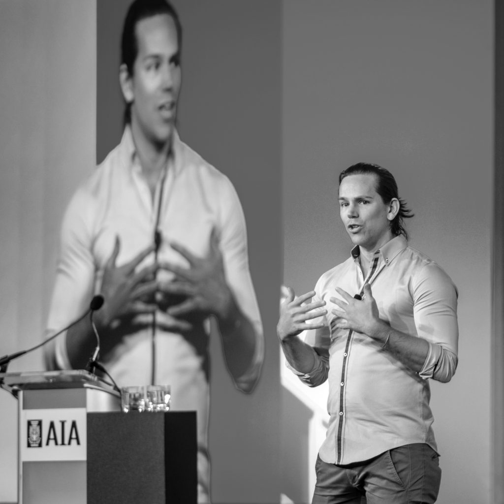 Beau Frail, Principal Architect of Activate Architecture, speaking at AIA Grassroots. (Photo by Sam Kittner)