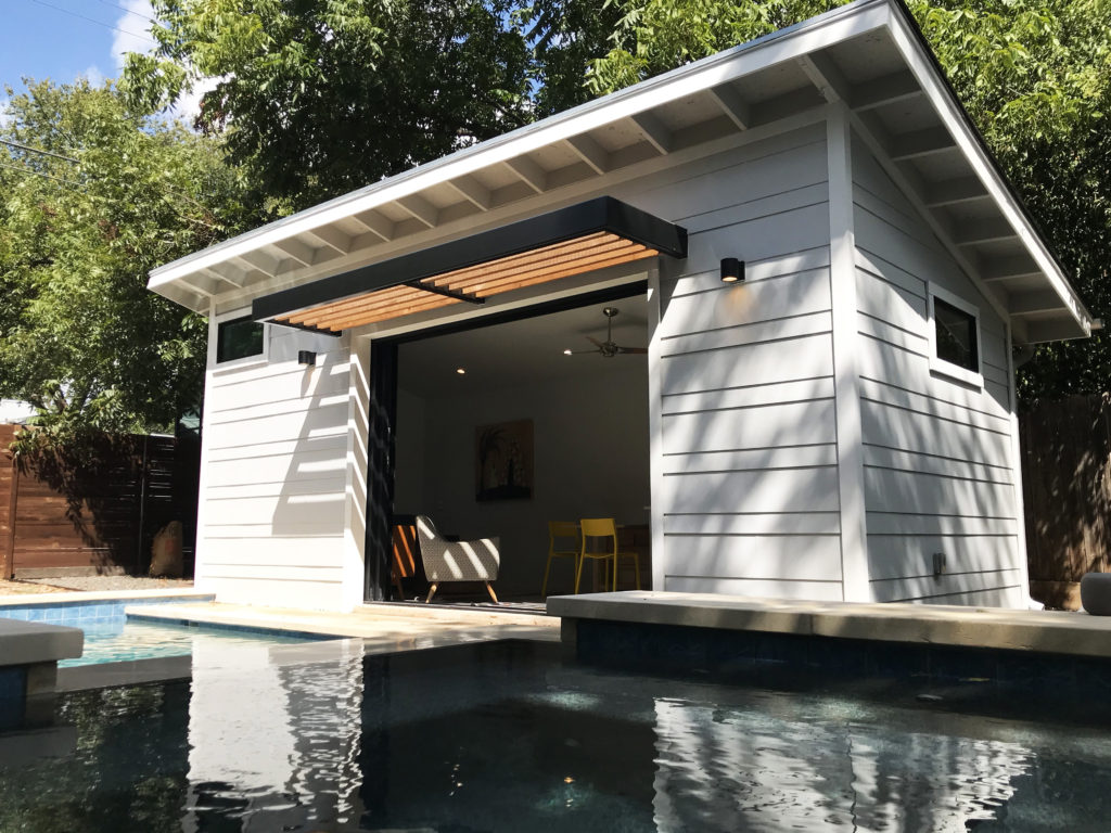 A pool cabana was one of Activate Architecture's first projects, which was a referral by a colleague (photo by Beau Frail).