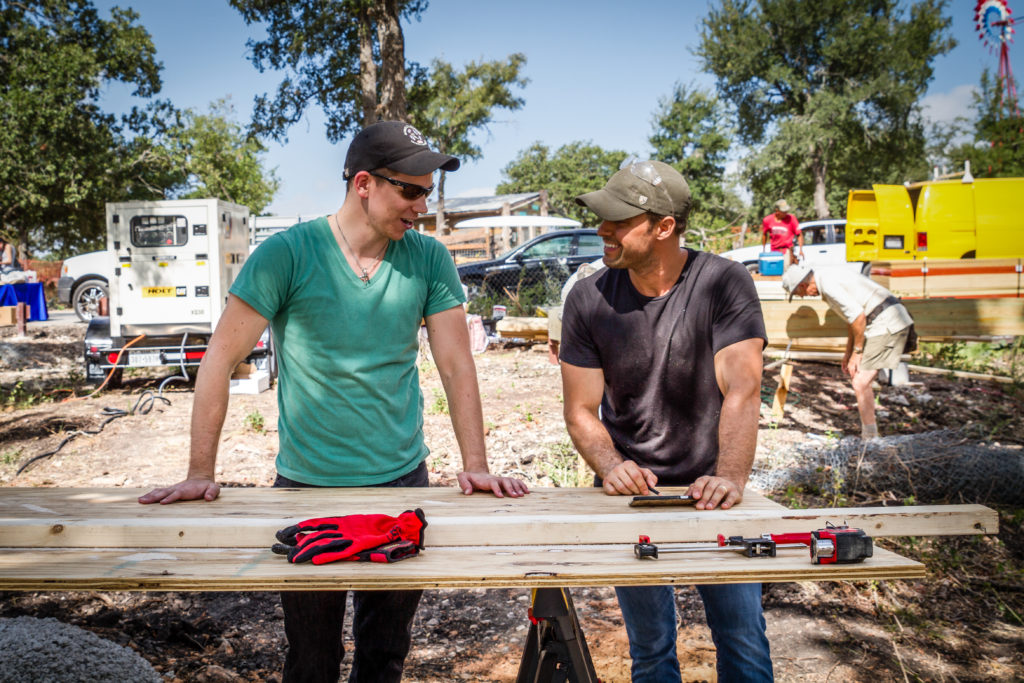 Volunteering at Community First! Village to build micro-homes for the homeless. (Photo by Jessica Mims)