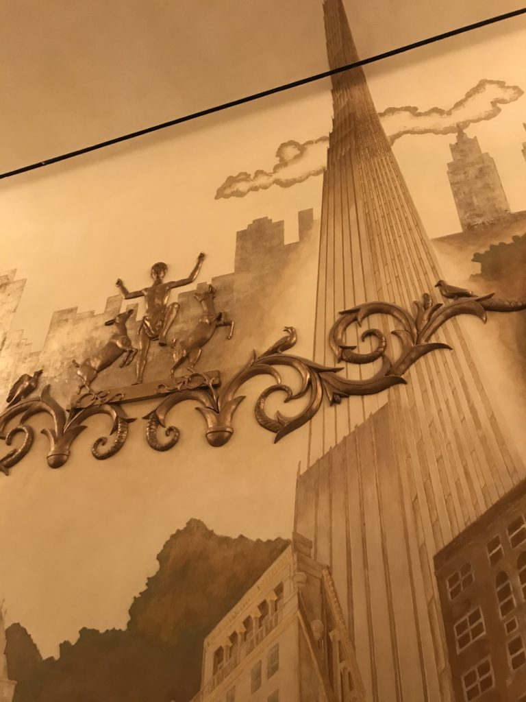 Lobby mural illustrates soaring height of new 111 West 57th St. skyscraper.
